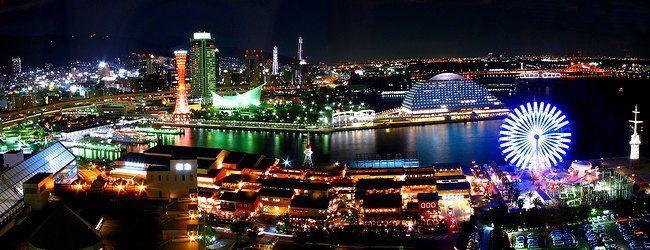 神戸ハーバーランド・モザイクとメリケンパーク・神戸港/神戸夜景パノラマ写真/神戸情報文化ビルエコールマリンから撮影