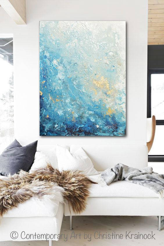 GICLEE PRINT Large Art Abstract Painting Blue White Wall Art Home Decor Canvas Prints Coastal Wall Decor Marbled Seascape Beach – Christine