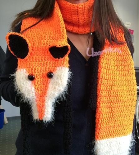 Вязаный шарф-лиса крючком:
