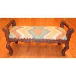 Handmade Kilim Upholstered Scroll Bench (India)