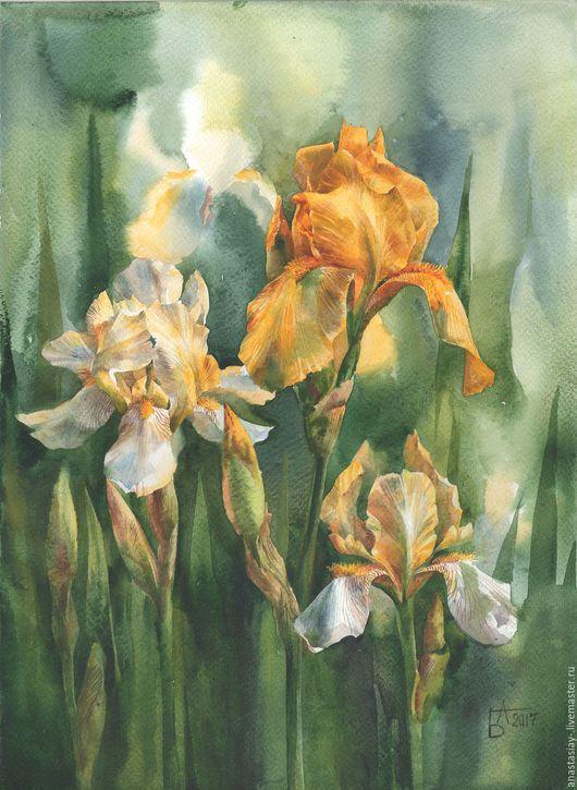 Картины цветов ручной работы. Ярмарка Мастеров - ручная работа. Купить Блики солнца. Handmade. Желтый, желтые цветы, акварель