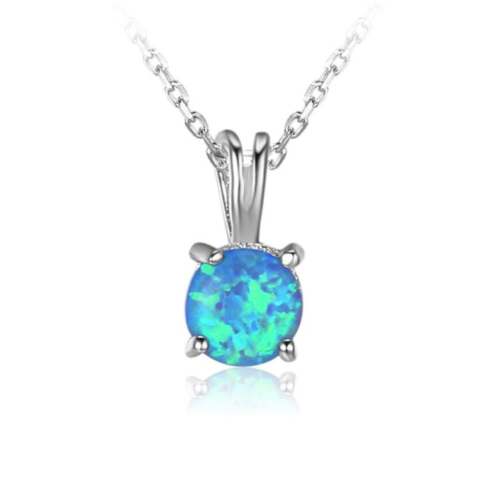 Post Included Aus Wide and to most international countries! >>> Round Blue Opal Necklace - 925 Sterling Silver
