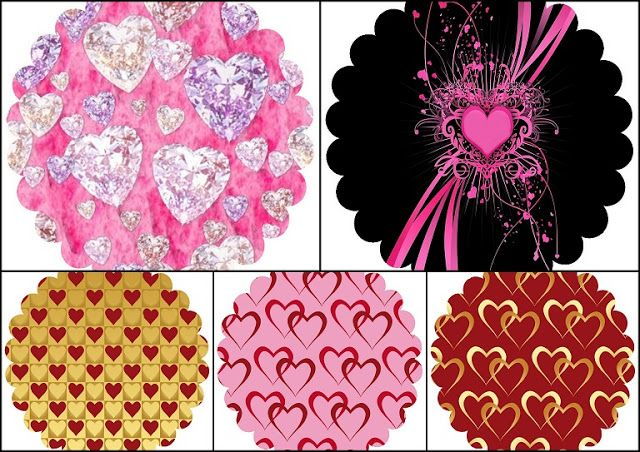 Hearts: Free Printable Toppers or Labels.