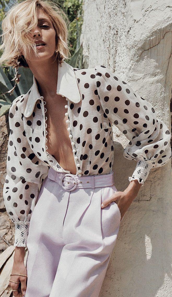 pois de senteur ⚫ allure style look chemisier polka dots blouse chic glamour c…