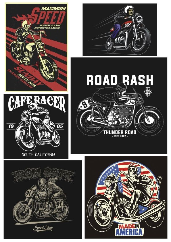 Download Retro Biker Vector Set Free Vector Vector Free Free Vector Art Vector