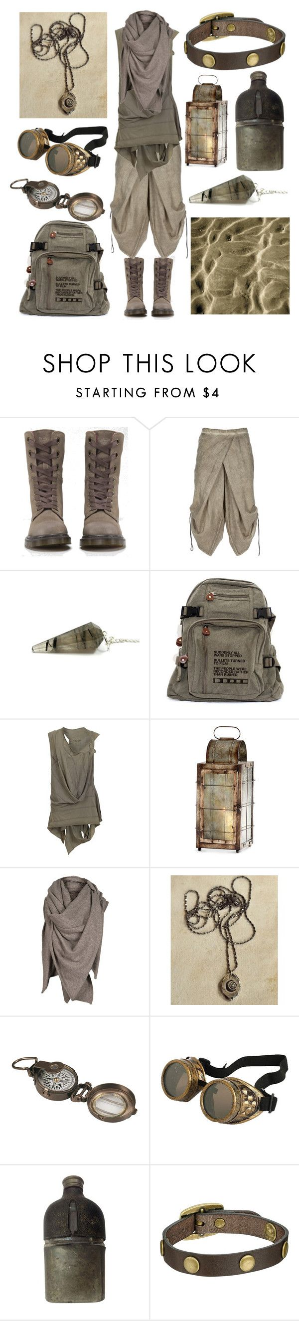 Desert Nomad by maggiehemlock on Polyvore featuring AllSaints, Lumen et Umbra, Dr. Martens, Frye, Cyan Design and Dot & Bo