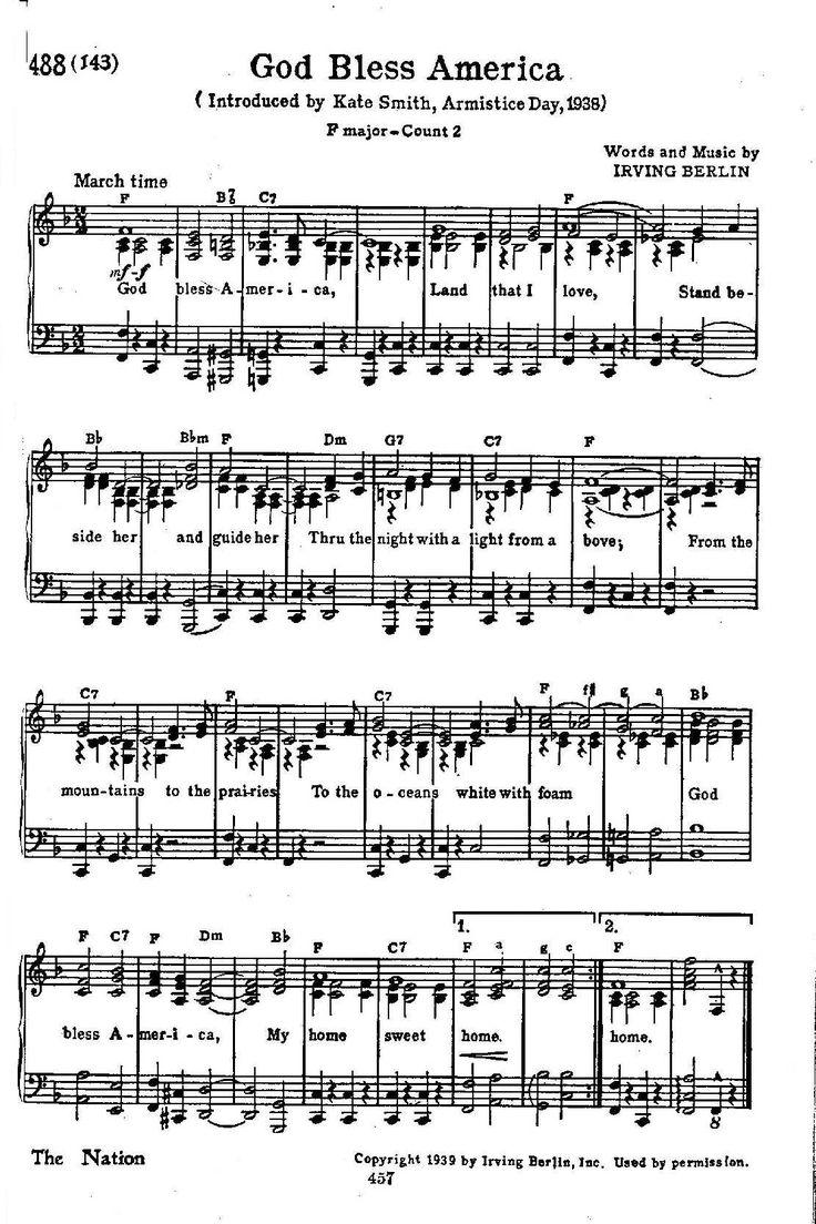 Image result for God Bless America sheet music with lyrics