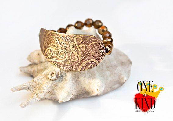 Boho waves  brass patinastretch bracelet by irinimichopoulou