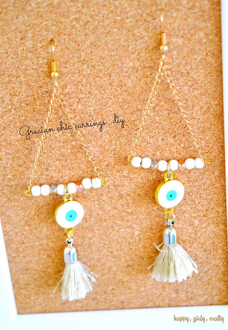 happy girly crafty: Grecian chic evil eye and tassel statement earrings DIY