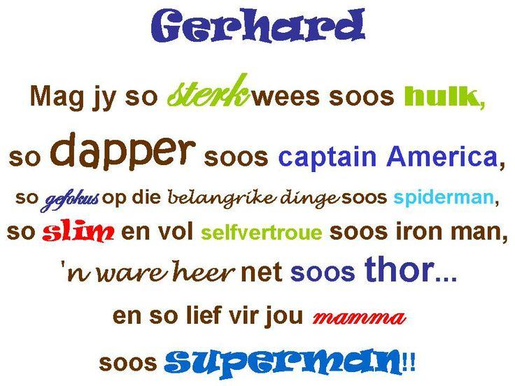 Klein Gerhard wall art - Afrikaans quote - superhero nursery
