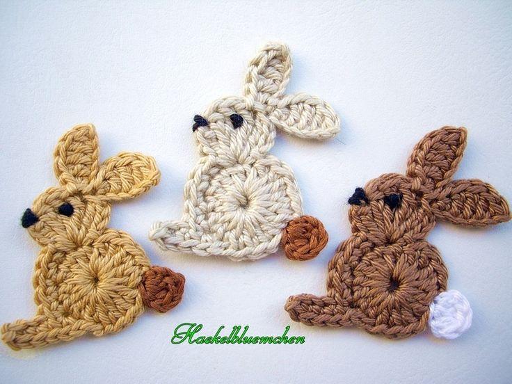 3 Hasen - Tiere by Haekelbluemchen - Crochet patches - Patches & Appliqué - DaWanda