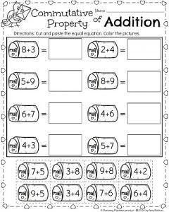 1st Grade Commutative Property of Addition Math worksheet for February. So cute! - PlanningPlaytime