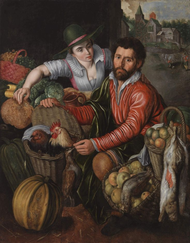 The Greengrocer by the Dutch genre painter Pieter Aertsen (1508–1575) describes two market vendors displaying their abundant supply. Market views were often used as pictorial motifs in Dutch art. However, this innocent description of a market reveals itself, when you scrutinize it a bit more closely, as something completely different... http://www.serlachius.fi/en/collections/pearl-of-the-month/49-pieter-aertsen-the-greengrocer/