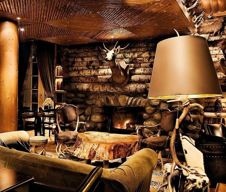 Lodge decorating ideas fireplace living room my style for Cabin decor
