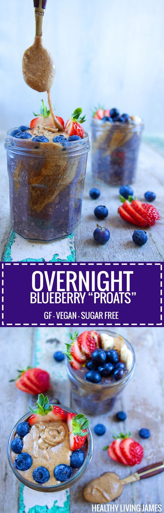 Overnight Blueberry Proats (protein oats) that are gluten free, vegan and sugar free. Amazing breakfast to grab on the go in the morning with only 2 minutes prep time the night before! Perfect cold but filling breakfast in this hot weather. It also tastes as good as it looks I promise