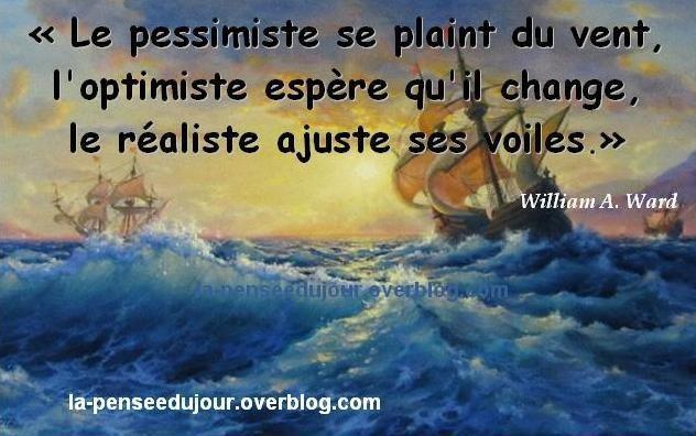 Le pessimiste se plaint du vent. L'optimiste espère qu'il change. le réaliste ajuste ses voiles.