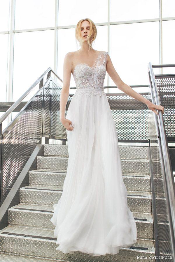 mira zwilinger bridal 2016 stardust crystal one shoulder wedding dress hand pleated silk chiffon lace bodice