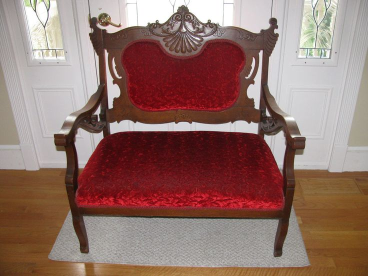 Vintage Antique Eastlake Victorian Red Setee SETTEE Love Seat Couch Sofa