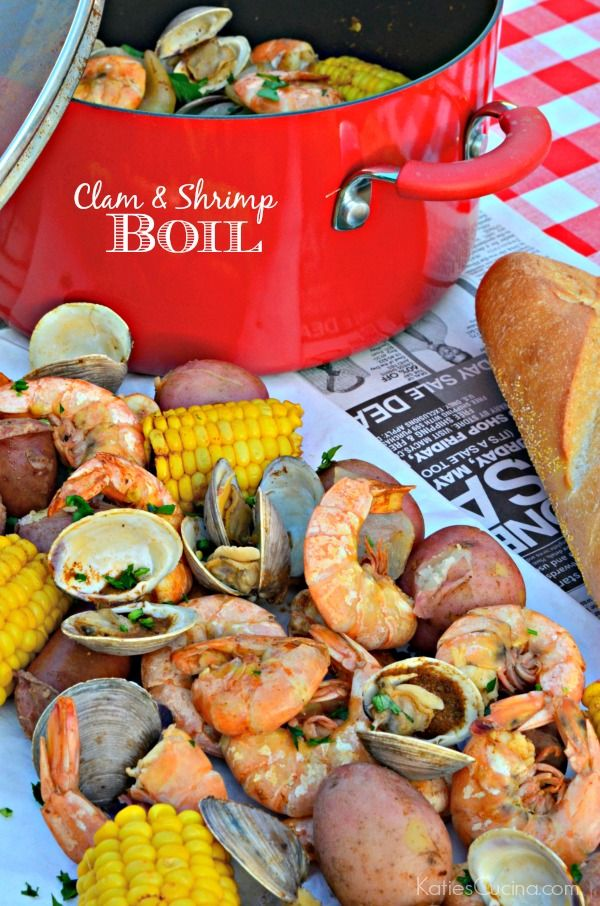 Small Batch Clam and Shrimp Boil recipe. Perfect dinner idea for summer entertaining!