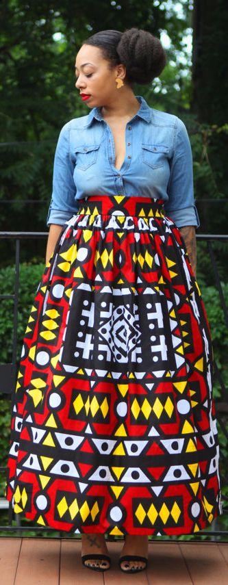 Aniyah African print maxi skirt. Handmade item. Materials: African Dutch Wax Print, 100 Percent Cotton. 100% cotton. genuine wax African print fabric. 2 side pockets. elastic in the waist (affiliate)