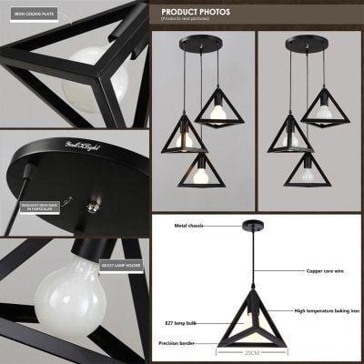 YouOKLight 110-240V Retro Pendant E27 Light Lamp Holder - Black 3 PCS  Contains no light bulb