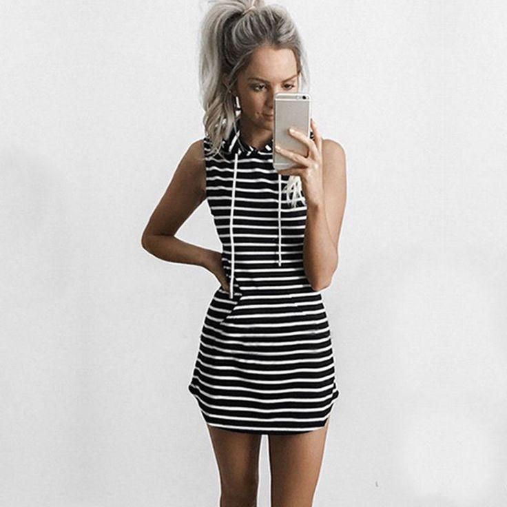 Womens Bandage Bodycon Summer Mini Dress Ladies Slim Hoodie Tops Shirts S M L XL