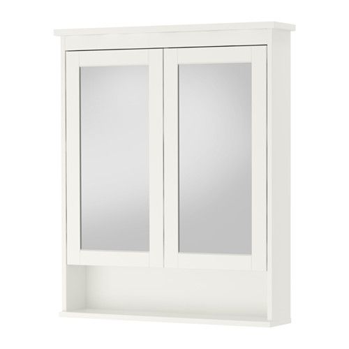 "IKEA - HEMNES, Mirror cabinet with 2 doors, white, 32 5/8x6 1/4x38 5/8 "", , The adjustable shelf is extra heat- and impact-resistant and has a high load-bearing capacity since it is made of tempered glass.The mirror comes with safety film on the back, which reduces the risk of injury if the glass is broken."