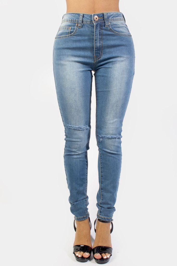 Knee Cut Skinny Jeans