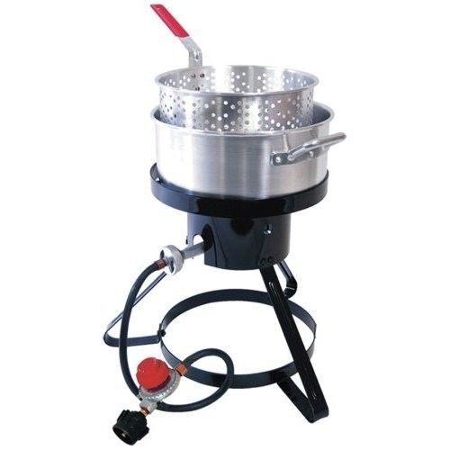 Propane Fish Fryer Outdoor Gas Seafood Deep Kettle Cooker Burner Cajun Basket #Masterbuilt