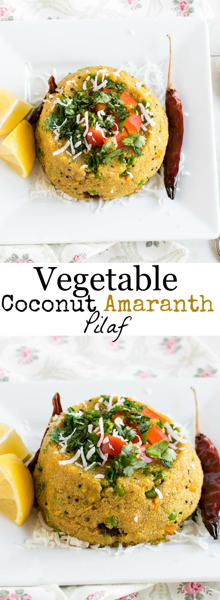 Vegetable Coconut Amaranth Pilaf | warm and tasteful vegan meal flavored with spice mix, cooked in fresh shredded coconut and folded in with gluten free amaranth grains tastes amazing at all times | kiipfit.com