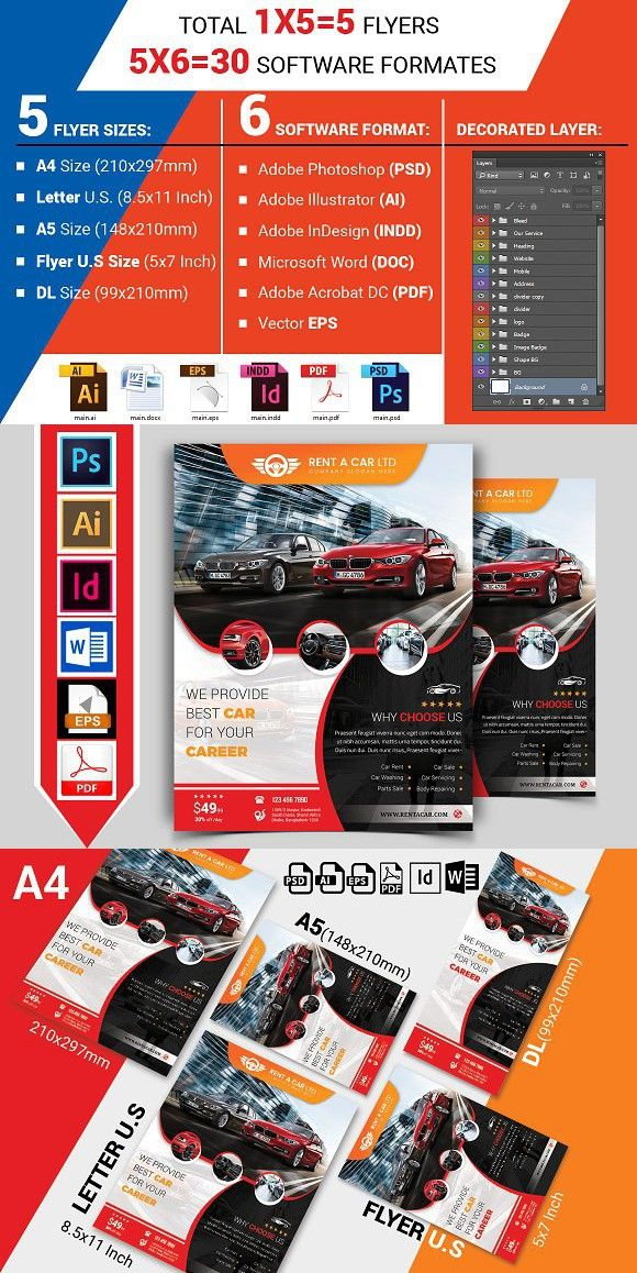 Rent A Car Flyer Template Vol 05 Automobile Design Flyer