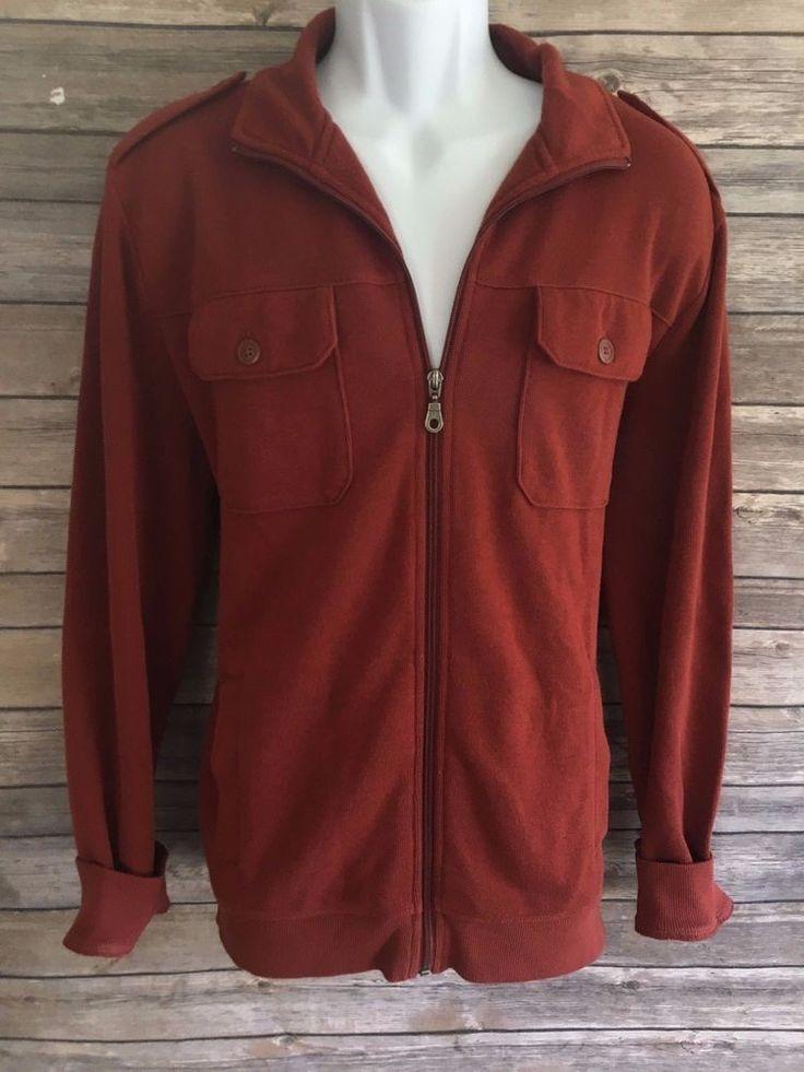 APT 9 Men's Sweater Size Large Long Sleeve Orange Casual Zip Up Hoodie EUC #Apt9 #FullZip #ebay