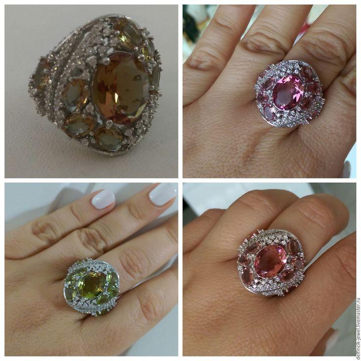 Купить Серебряный перстень с россыпью султанитов - разноцветный, султанит, перстень с султанитом, султанит в серебре