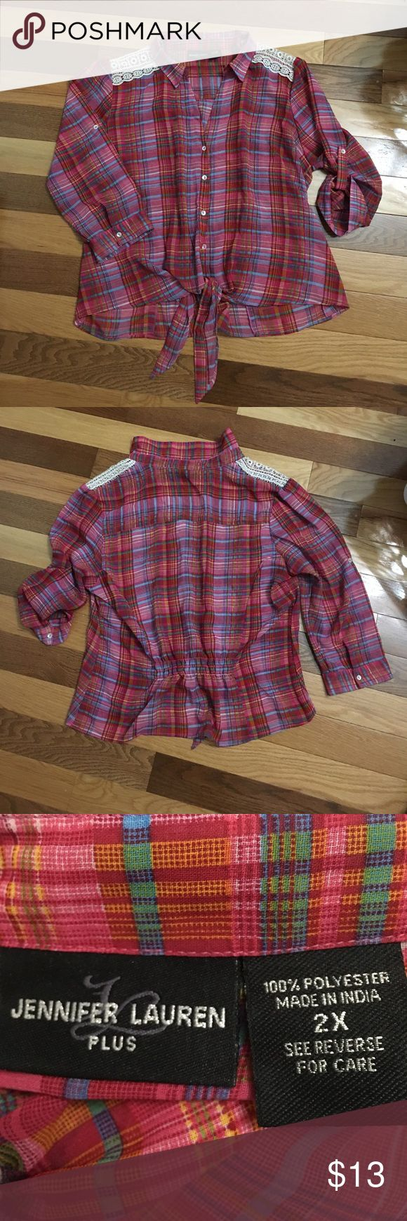 "Sheer western crop TOP Sz 2X Armpit to armpit is 25."" Shoulder to hem 23."" Front buttons and tie. Back is longer Abd gathers at waist. Shoulder has decorative crotchet. Three quarters sleeves roll up and button. Jennifer Lauren Tops Crop Tops"