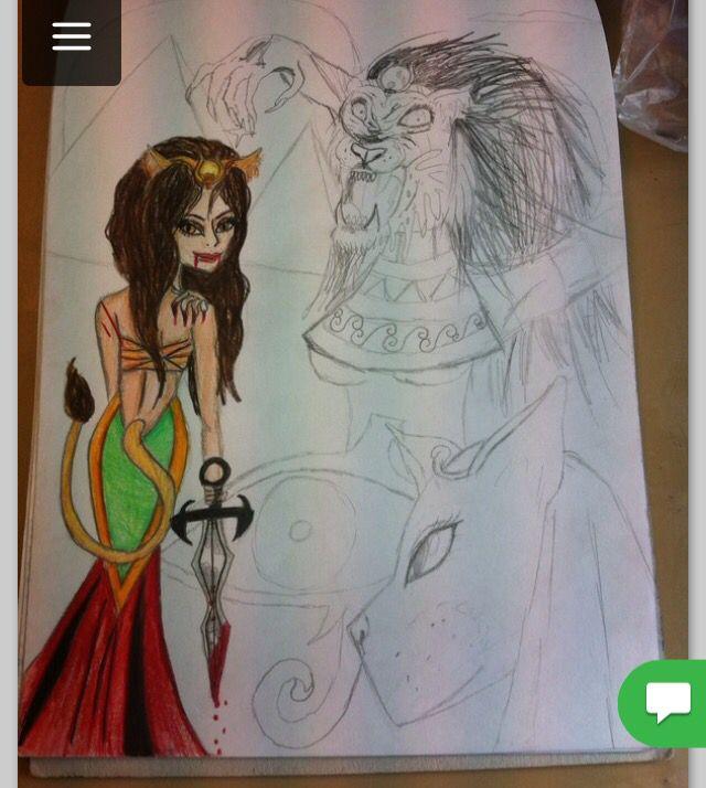 Äldre påbörjad teckning teckning inspirerad av egyptisk mytologi, främst den om krigsgudinnan Sekhmet med sitt lejonhuvud  Artist: LHSV
