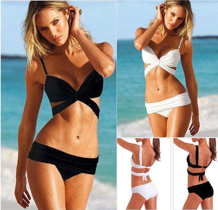 Y3 Sexy Femme Push-up Bikini Maillots de bain Beach Plage Swimwear Noir Blanc