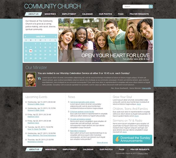 Community Church Joomla Template by Html5 Web Templates, via Behance