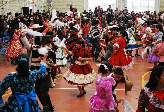 Cueca competitions like these are common surrounding Chile's national holiday.