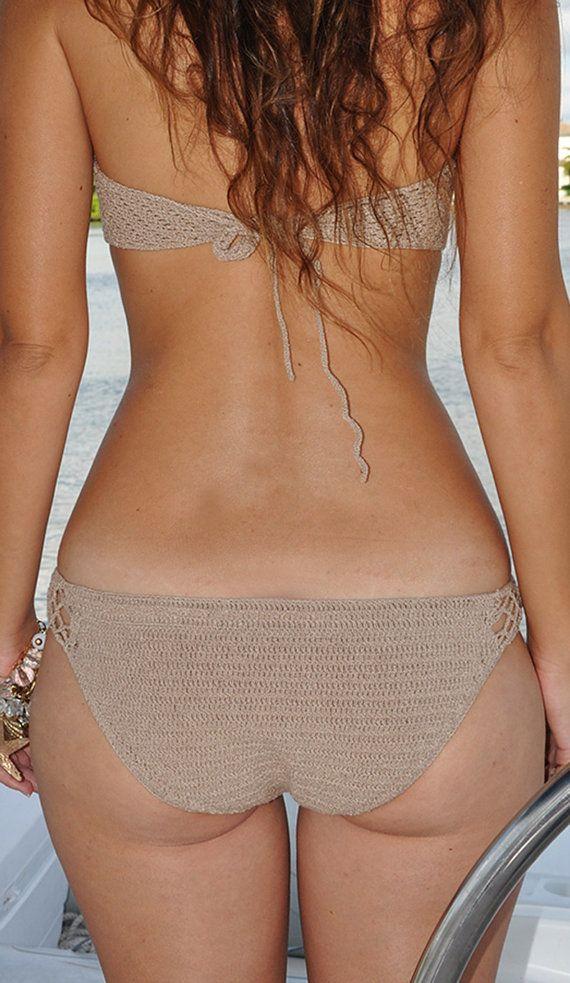 Fondo de Bikini de ganchillo elástico en Color por SeaSideMotifs
