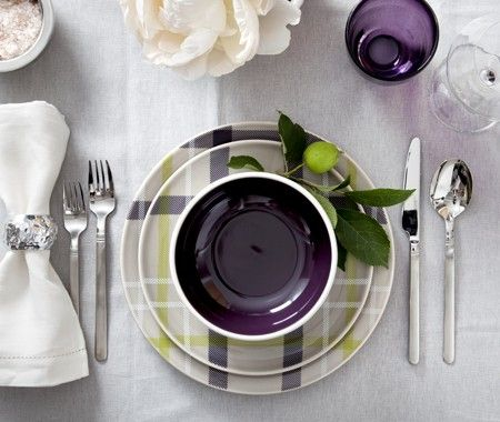 I love this plaid dinnerware set with purple glasses.