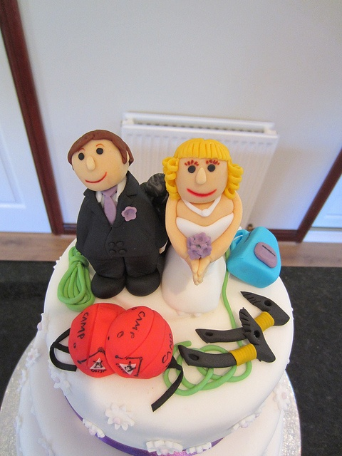 Mountain rescue wedding cake with climbers ice axe and helmets   Flickr - Photo Sharing!