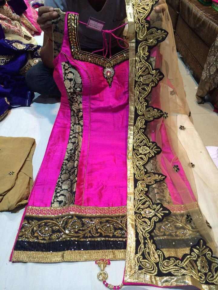 With gold pajami or patiala salwar