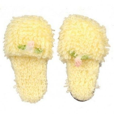 Yellow Slippers with Pink Rose www.teeliesfairygarden.com Give your fairies a comfortable pair to wear when they're just at home. These yellow slippers with pink rose will give fairies a relaxed feeling when worn. #fairyslippers