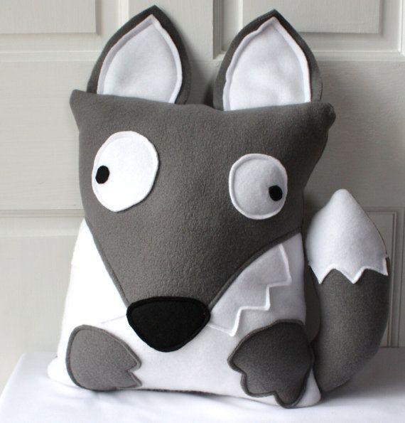 Grey Wolf Pillow Wolf Plush