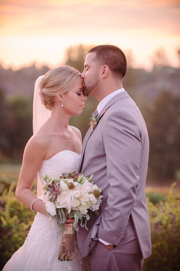 Lovely bride and groom photo at golden hour