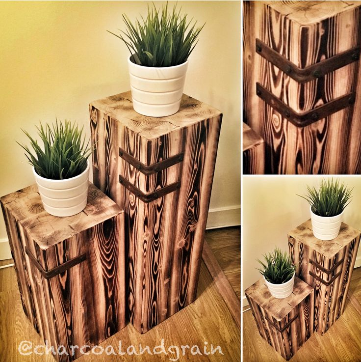Douglas Fir Plant Stands Rusted Metal Hardware