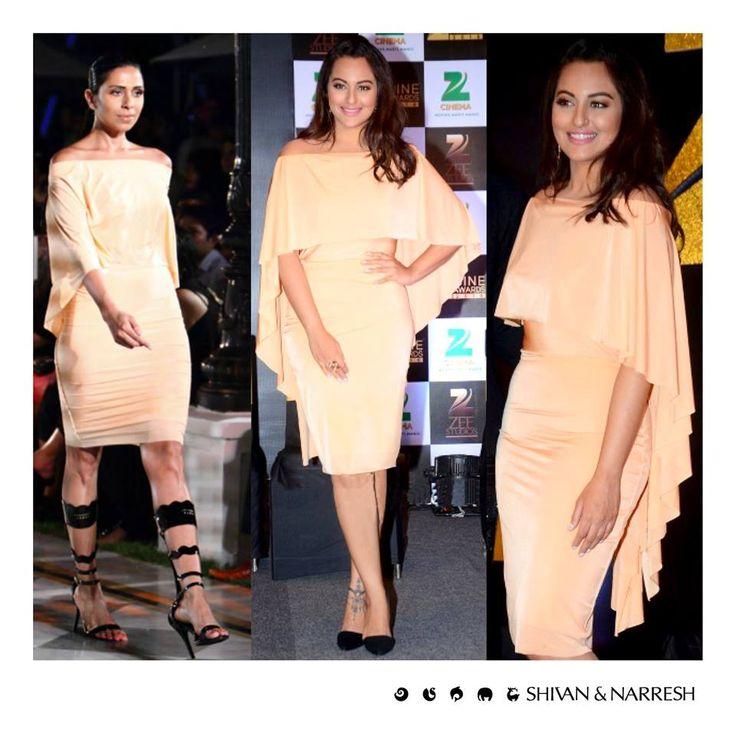 Sonakshi Sinha looking stunning in Shivan & Narresh SS'16 Terracotta Cruise Dress at Zee Cine Awards Press Conference | #SonakshiSinha #ShivanAndNarresh #ZeeCineAwards #CelebStyle #EveningWear