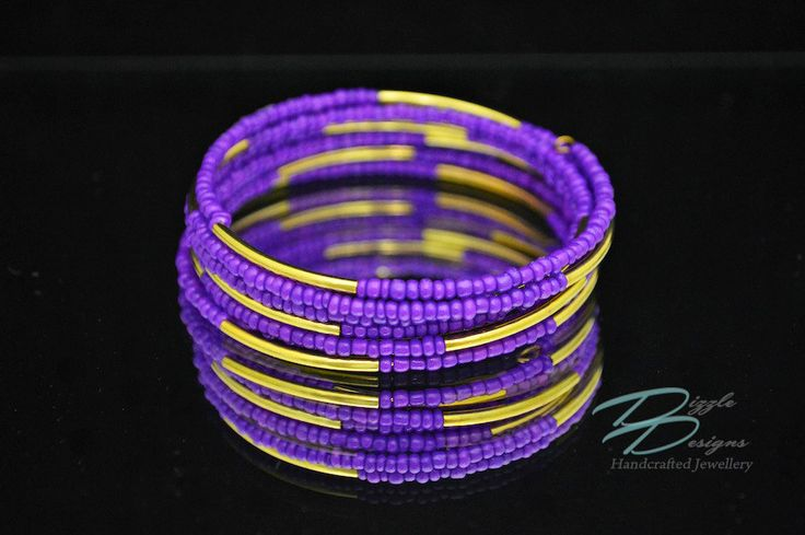 Deep Purple and Gold Tube Cuff Spiral Bracelet by DizzleDesigns on Etsy