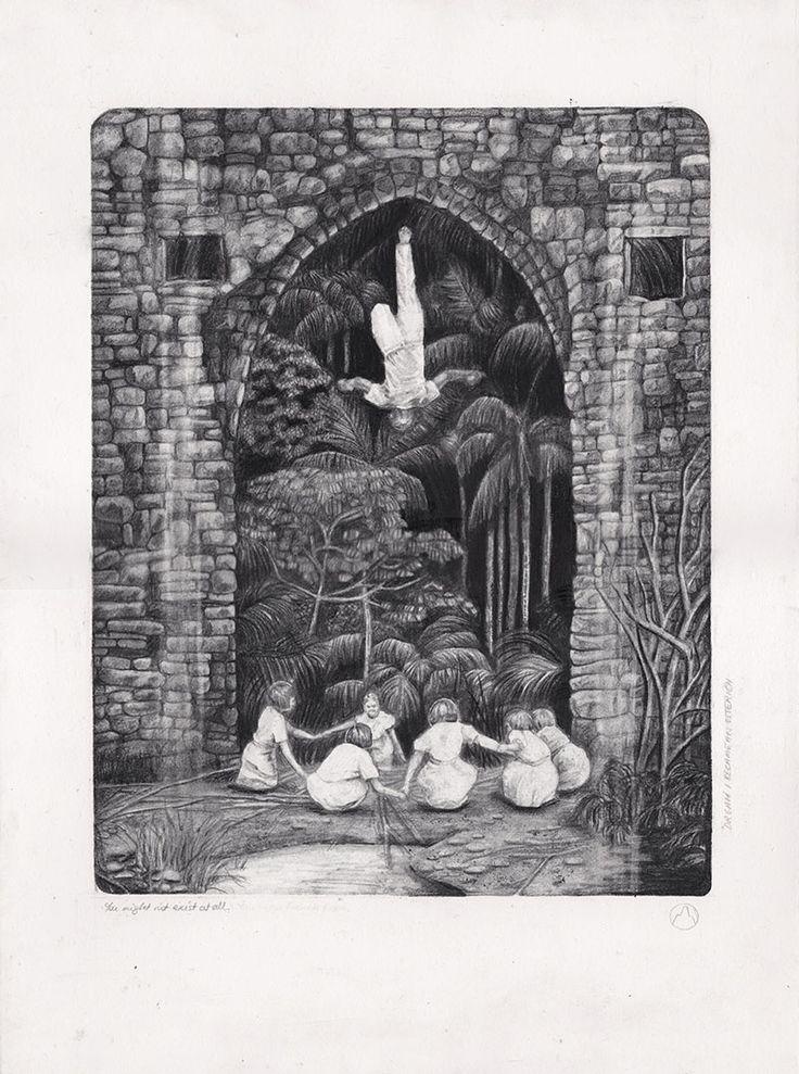 Becc Orszag- Rise - carbon & graphite pencil on watercolour paper 28x38cm, 2014