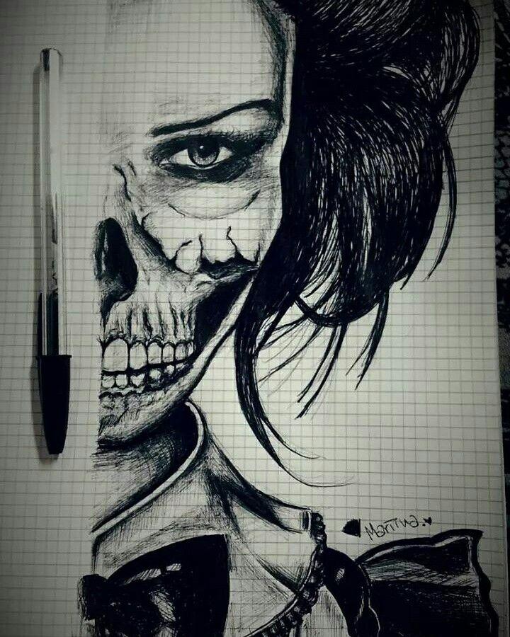 Donna/Scheletro  Disegno a penna